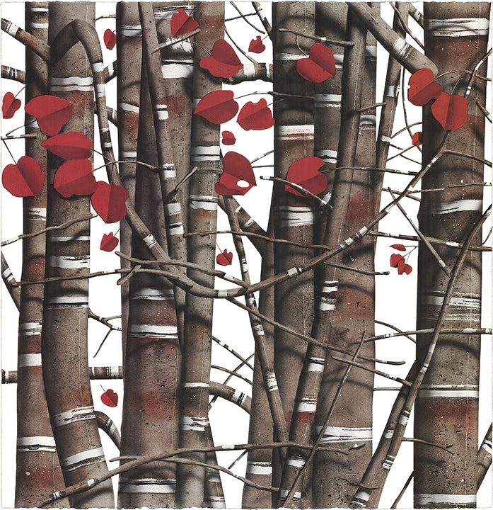 Red and White Tree Grid