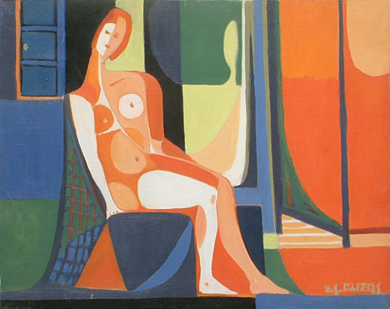 Seated Woman with Red Screen