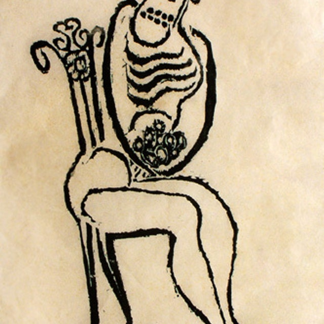 Woman Seated in Wrought Iron Chair