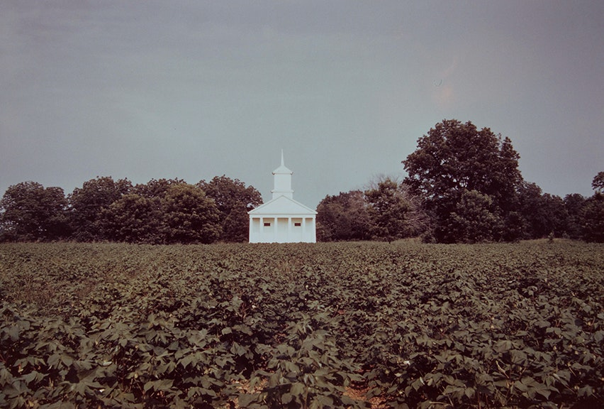 Church Across Field of Cotton, Pickinsville, Alabama