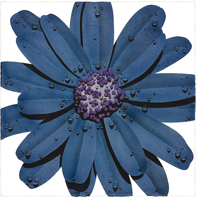 Blue Flower with Purple Center